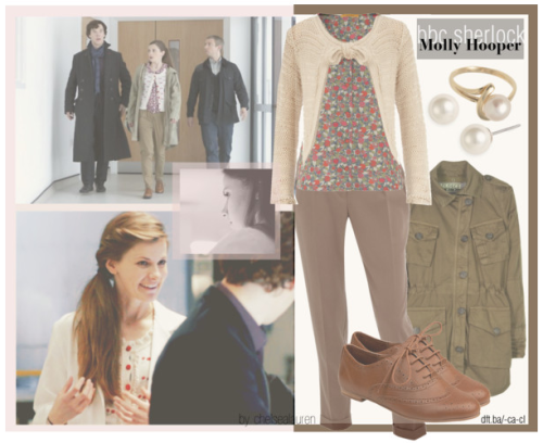 Molly Hooper | BBC's Sherlock by chelsealauren10    Dorothy Perkins knit top, $35Dorothy Perkins pegged pants, $35Steve Madden winged shoes, $60Givenchy stud earrings, $26