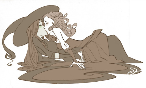 [Image: Fanart of Elphaba and Glinda from Wicked kissing, dress and robes pooling around them on the ground.] (via Unadulterated loving by *nana-51 on deviantART)