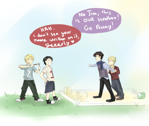 Belongs to Itachi—x3 Cute little kid!Sebastian, Jim, Sherlock and John :')