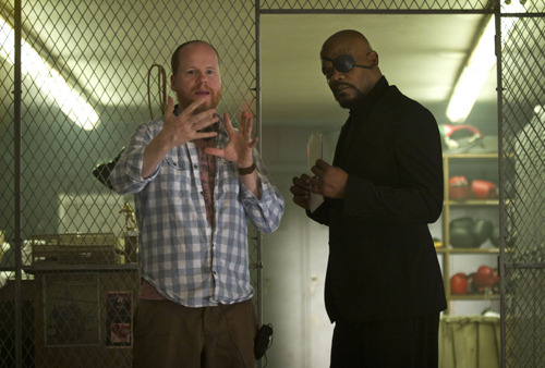 fuckyeahdirectors:  Joss Whedon and Samuel L. Jackson on the set of The Avengers (2012)  WHICH WILL ROCK MY SOCKS OFF