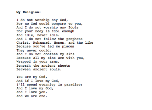 """My Religion"" by Nick Brady"
