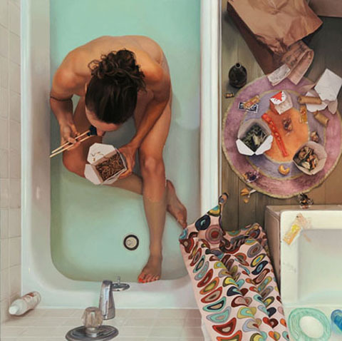 Artist Lee Price paints hyper realistic paintings of real life situations.