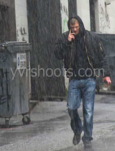 yvrshoots:  The Killing's Joel Kinnaman doused by rain tower in Vancouver My YVRshoots blogpost
