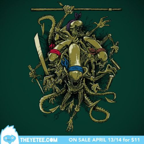 zuppadivetro:  theyetee:  Ancient Ninja Xenomorphs  - Bleee (Billy Allison) $11 on April 13/14 at The Yetee Make sure you swing by our Facebook page to enter to win a free shirt!  -  jajajajaja! que bueeena