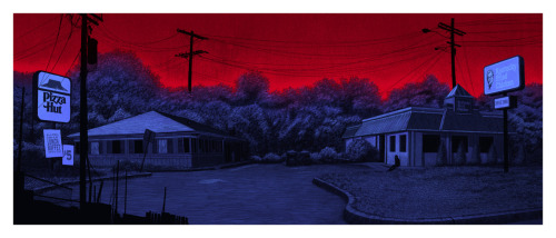 "tinymediaempire:  ""devil town""12x30"" screen print2011to me, there is no more uniquely suburban experience from my youth than waiting for a late friend in the parking lot of a Pizza Hut."