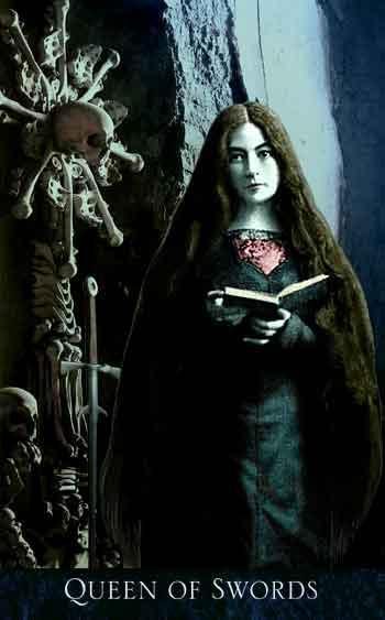 My favorite tarot card, the Queen Of Swords from the Gothic Bohemian Tarot. Released 2007 by The Magic Realist Press My absolute favorite tarot deck, and one that I've connected with most. They have since release a second addition, changing many of the cards—including the Queen Of Swords. I prefer the first edition very much so.