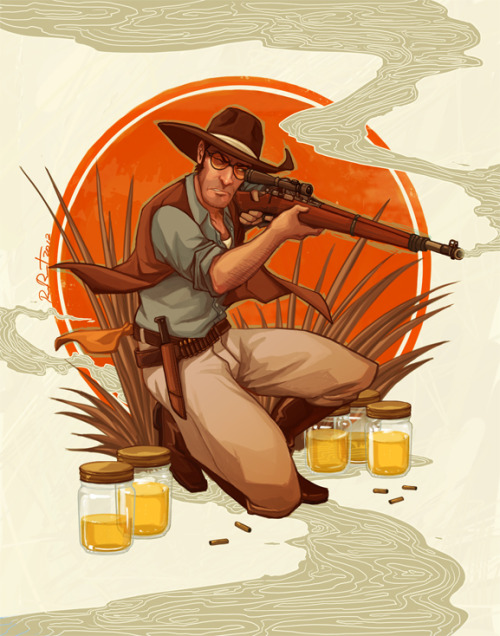 chinesesniper:  otlgaming:  TEAM FORTRESS 2 SNIPER: 1920s EDITION by RAMIDA-R Ever patient and always vigilant, the sniper never leaves their position until their mission is completed. Not even to go to the bathroom. I wonder what's in all of those jars? You may also like:1920s Soldier || 1920s Scout  I love this series. *_*