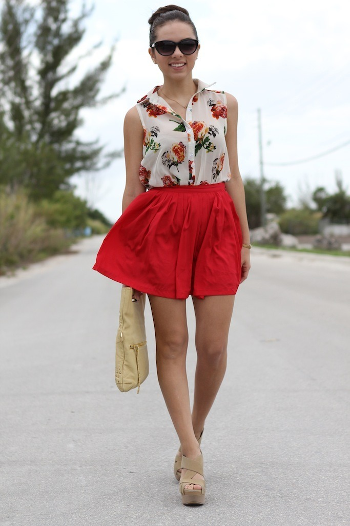 "Skirt: c/o Beginning Boutique ""Love that red skirt"" Top: c/o Romwe ""Sleeveless flower "" Bag: -borrowed- Sienna Ray ""Wanderlust"" Necklace: c/o Furor Moda ""Sideway cross"" Sunglasses: MNG by Mango (c/o JC Penney) Shoes: Xiomara Lisette""Ella wedge"" Bracelet: c/o Pop of chic Watch: vintage (image: nanysklozet)"