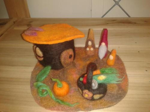 Harvest House gnome play set, made by CookieCatCrumbs