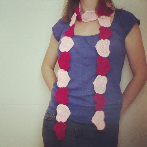 "Love You Heart Scarf. By CUExperiments on Etsy.  Use Coupon Code ""KANGOO"" for 20% off. -Cory U"