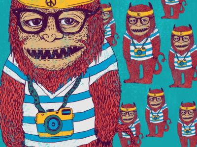 "archiemcphee:  dandingeroz created this rather awesome ""Hipster Monster"". Too cool to hang out with the other Wild Things, he spends his time looking nonchalant and thoughtful while taking photos with his plastic camera.   It's Hipster Day on Geyser of Awesome!"