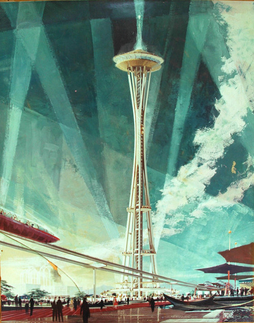 goldenhotpants:  Seattle Space Needle, architectural rendering, Earle Duff, circa 1961, Seattle, Washington, USA (some damage to older image) by Wonderlane on Flickr.