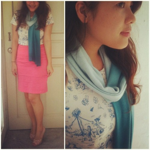 #ootd / Toile print and neon coral (Taken with instagram)