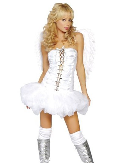 Adult Sexy White Queen of Angels Corset Costume :  angel corset white costume