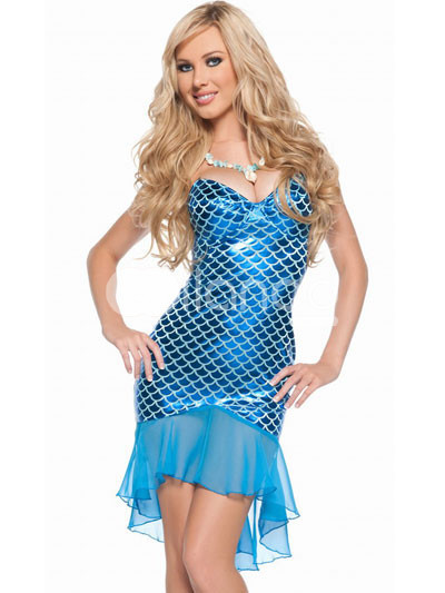 Blue Twinkling Strapless Nylon Spandex Sexy Mermaid Costume :  blue nylon strapless spandex