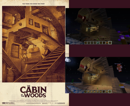 [Minecraft] The Cabin in the Woods movie poster approximated in Minecraft. Server: weplayminecraft.