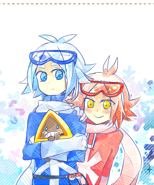 pokezuma snow bbys for Suuuuuuuu senpai! your curtest gym leaders!(゚∀゚*) sorry for their faces I never really draw them before//OTZ eek I just want to thank you for starting the pokezuma crossover thing i really had a looooot of fun drawing them and looking at other people's designs////we should do things like that more!/// This really made April my fav month in 2012 already! //runs