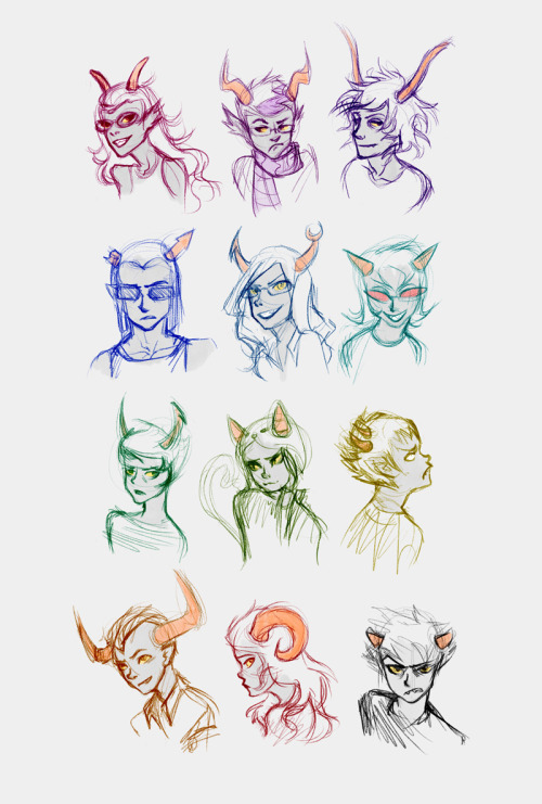 WHEE!!! I was so excited I drew all the trolls!  My first 4/13 as a Homestuck ◉‿◉