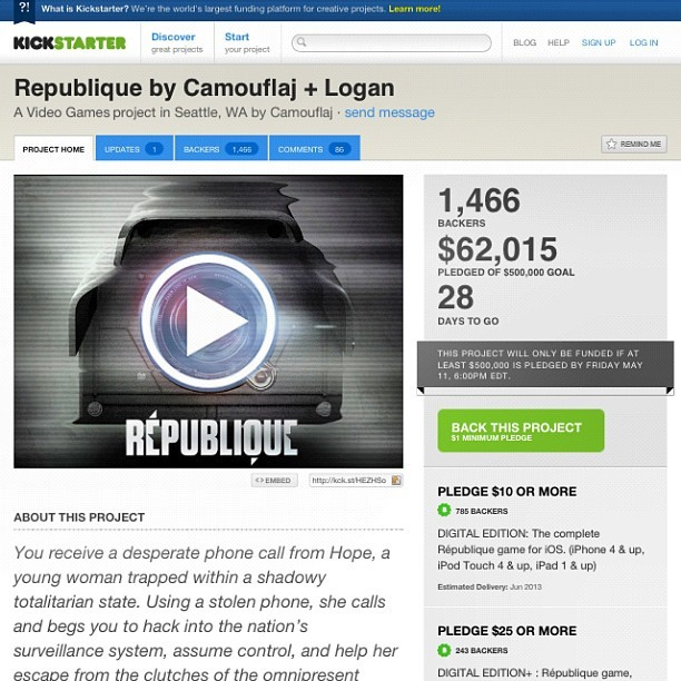 Support #republique by #Seattle -based #startup, #Camouflaj #ios #videogame for #iphone #ipad  (Taken with Instagram at Seattle, WA)