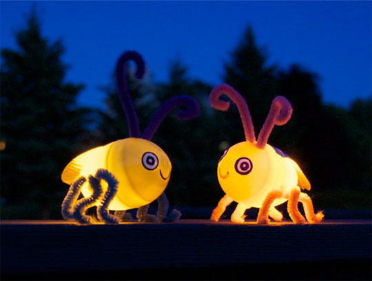 Turn Left Over Plastic Easter Eggs into Little Lightning Bugs!