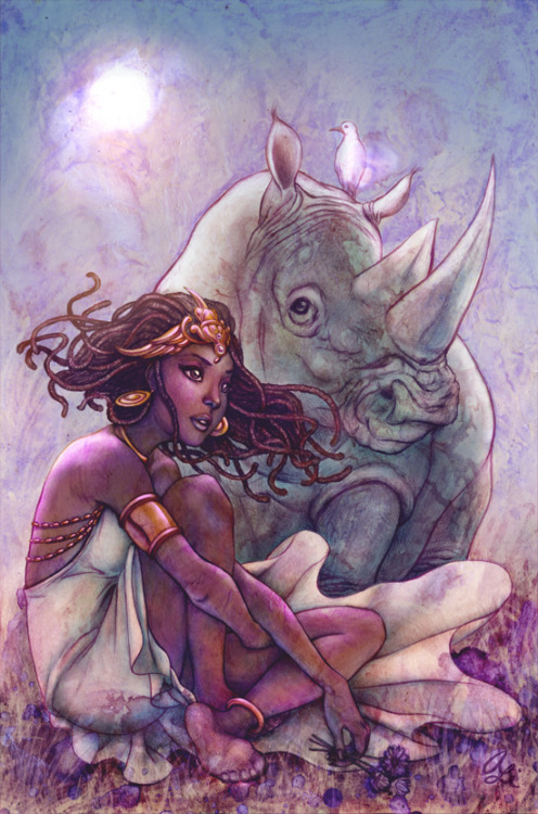 "alicemeichi:  Unicorn Featured as the back cover in Image Comics' ELEPHANTMEN #36. The title, ""Unicorn"", was derived from the initial mistake from European explorers that rhinocerii were actually unicorns. I kept this in mind as I designed Sahara's headdress and the overall feel of the unicorn-and-maiden legend…"