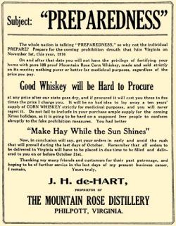 """It will be no bad idea to lay away a ten years' supply of corn whiskey strictly for medicinal purposes, and you will never regret it."""