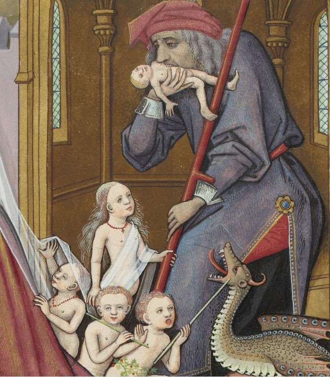 Bibliothèque nationale de France, Français 143, detail of f. 28 (Saturn devouring his children). Évrard de Conty, Échecs amoureux. France (Cognac), c. 1496-1498. Artist: Robinet Testard.