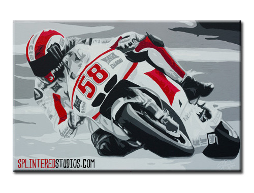 LATEST PAINTING - Marco Simoncelli - Monotone with red splashes of the tragic motorcycle racer. http://www.splinteredstudios.com/MarcoSimoncelli.html