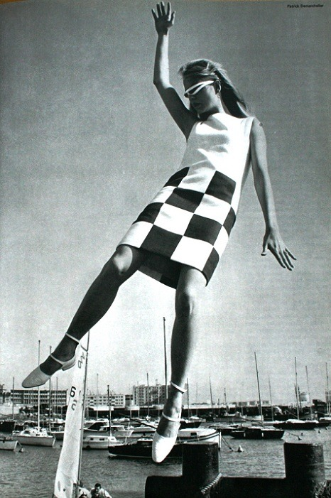 themodandchicdecades:  L'Officiel June 1966 Dress with big black tiles by Guy Laroche Photo Patrick Demarchelier