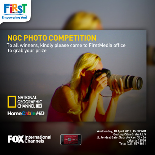 To all NGC Photo Competition Winners, Kindly please come to FirstMedia office to grab your prize. Date and place: Rabu, 18 April 2012, 15.00 WIB Gedung Citra Graha Lt. 5 Jl. Jendral Gatot Subroto Kav. 35-36 Jakarta 12950 Telp: (021) 527 8811 NGC Photo Competition winners are: @Nissahamzah, @Prassprasetio, @Harryboejl, @Janosukarya, @Ahmadfahm1, @Photocerita, @Mikesidharta, @Dhermawan  NGC-JavaJazz Photo Walk winner is: @Pnataly *Winners should be able to show:  1. Valid ID card 2. Instagram and Tumblr account ownership and uploaded image from each account.  Winners gallery : http://firstmedia.com/ngcphotocompetition/page/winners