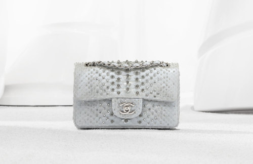 Chanel Classic flap bag in embroidered phyton 4.9 x 8.1 x 3 in Price unknown www.chanel.com