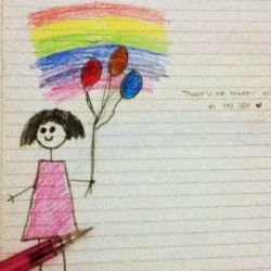 Aku #child #rainbow #sketch #instagood #instapad #instamood #iphonesia 👧💋 (Taken with instagram)