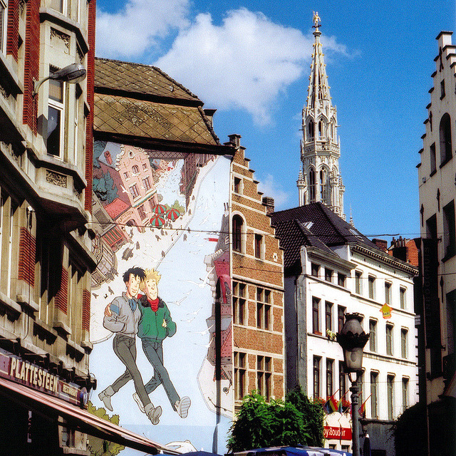 | ♕ |  Comic Strip mural - Downtown Brussels  | by © Peter Gutierrez