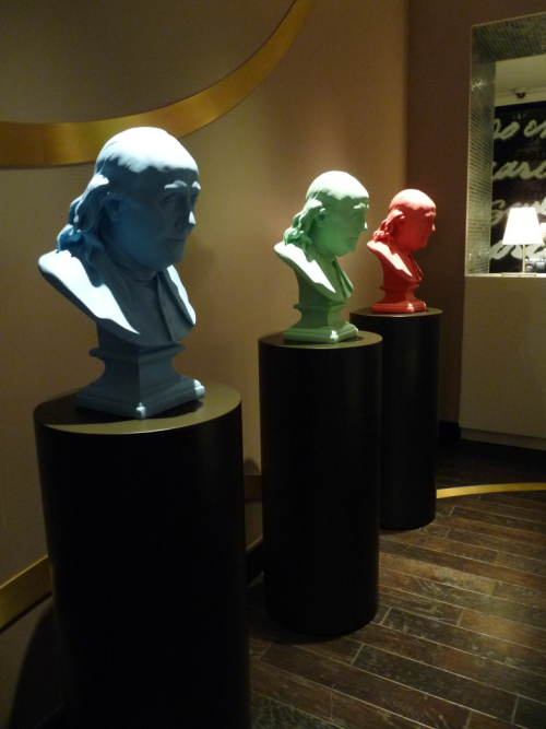 """Hello there, Handsome.""  -Ben Franklin upon seeing his bust cast in 3 colors, 2012."