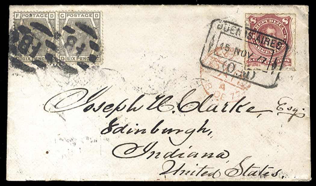 "Argentina 1877 (15 Nov) cover with contents from Buenos Aires to the United States, franked with 8c lake, tied by framed departure (""O.M."") datestamp, used in combination with Great Britain pair of 6d gray (pl.15), cancelled with ""FB"" on arrival, with red London Paid (Dec 18) pmk alongside. While the British post office in Buenos Aires was closed at the end of June 1873, the British consul continued to sell stamps (until 1878) which were used to prepay the international rate on British packets (in this case on the Royal Mail Steam Packet Co. steamer ""Neva""). All mail (after 1873) was also required to have Argentine stamps for internal postage. Cover with duplex New York (28 Dec) and ""Paid All E"" on back, some peripheral toning, otherwise fine and scarce combination franking to USA (via Philasearch.com: Cherrystone: Worldwide Stamps and Postal History - item 13-A201204-236)"