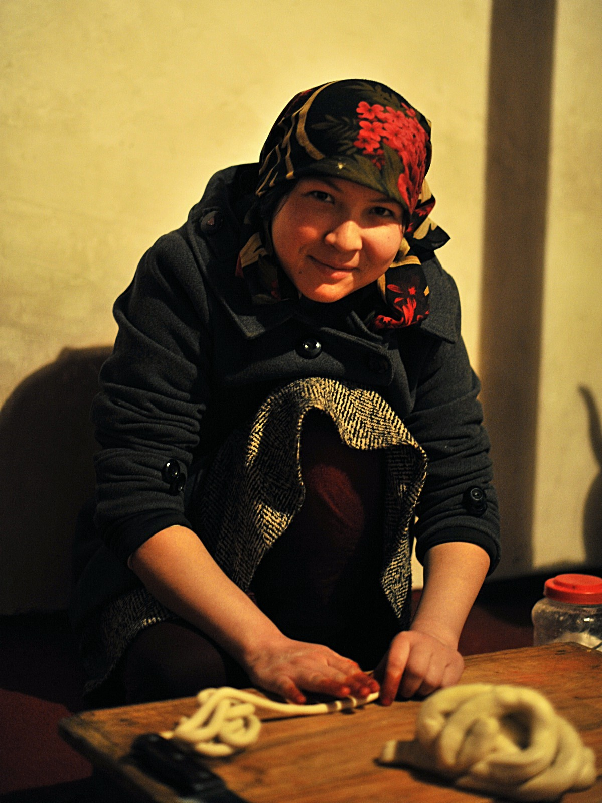Young Uyghur Girl Preparing Noodles for Dinner, Kashgar 2012