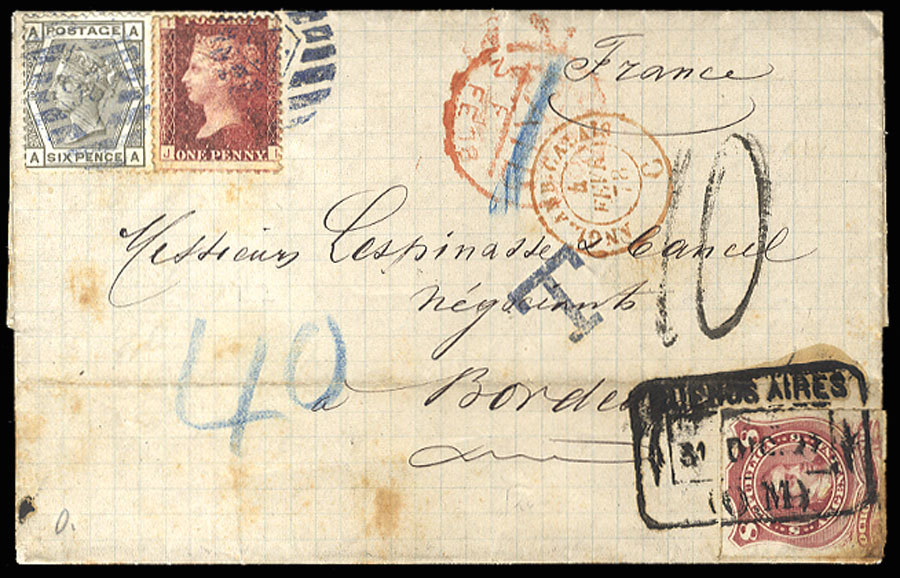 "Argentina 1878 (31 Dec) FL from Buenos Aires to France, franked with 8c lake, tied by framed departure (""O.M."") datestamp, used in combination with Great Britain 6d gray (pl.15) and 1d red (pl.200), cancelled on arrival, with red London Paid pmk alongside. Since the correct rate to France was 7 1/2d, the cover was underpaid by 1/2d, with ""Paid"" marking crossed out and ""40"" added in blue crayon, also handstamped ""T"" and charged ""10 (decimes) on arrival at Bordeaux. While the British post office in Buenos Aires was closed at the end of June 1873, the British consul continued to sell stamps (until 1878) which were used to prepay the international rate on British packets (in this case on the Royal Mail Steam Packet Co. steamer ""Minho""). All mail (after 1873) was also required to have Argentine stamps for internal postage. Cover with some toning, otherwise fine and rare combination  Estimate price: 1400.00 US$"