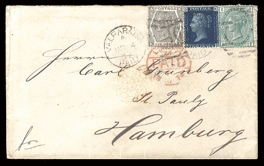 "1874 (4 Mar) cover to Hamburg, franked with 6d (pl.12), 2d (pl.14) and 1sh (pl.8), tied by ""C30"" duplex and Valparaiso Paid departure cds, repeated alongside, with red London Paid on front and arrival pmks on back. This cover was carried on the ""Cuzco"" from Valparaiso to Callao, then the ""Chile"" to Panama; from there on the ""Tasmanian"" from Colon, arriving at Plymouth (11 April). The 1sh 8d rate was made up of 1sh 6d to England, plus 3d to German, less 1d for non-delivery in the United Kingdom. A fine three color combination cover from Chile to Germany (via Philasearch.com: Cherrystone: Worldwide Stamps and Postal History - item 13-A201204-249)"