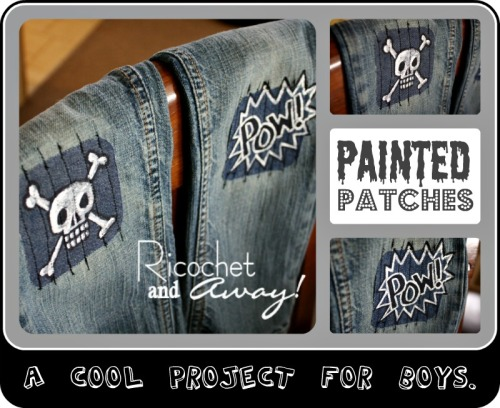 DIY Painted Patches for Clothing. Instead of ugly patches on kids' clothing, transform the patches into something cool using sharpies and paint and stitching vertically over the design. Tutorial from Ricochet and Away! here.