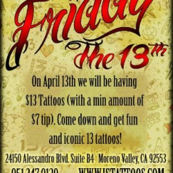 Ink Smith's Friday the 13th customer appreciation day… www.istattoos.com (Taken with instagram)