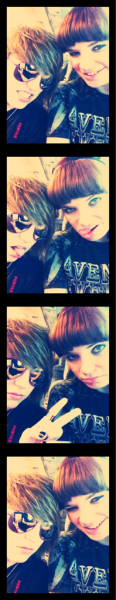 Film strip. My sister and I on blue lakes bus on the way to Chicago!!
