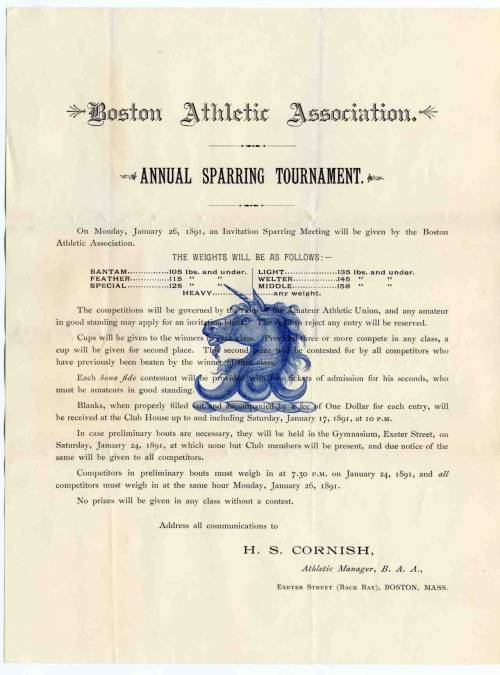 Boston Athletic Association Handbill, 1891. City Council Committee Records, (Collection #0140.001)  Creative Commons License
