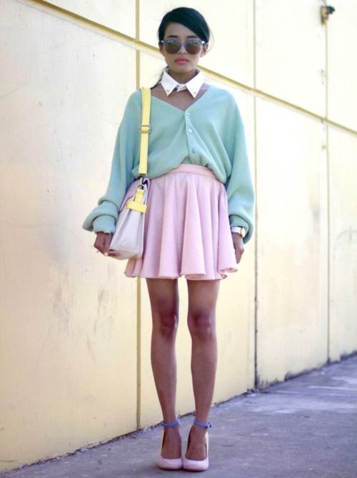 "pretaportre:  Lust for Life's Olivia Lopez in ""Easter Sunday Pastels"" wearing an electric blue 'Lucia' sunglasses and pastel colorblock bag from Karmaloop, Caravan thunderbird studded collar, vintage mint sweater, keepsake skirt from The Shop Public Relations, and See by Chloe heels."