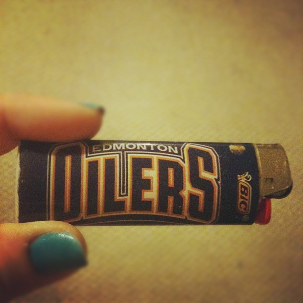 My #Oilers lighter has died. There's a playoffs metaphor in there somewhere. (Taken with instagram)