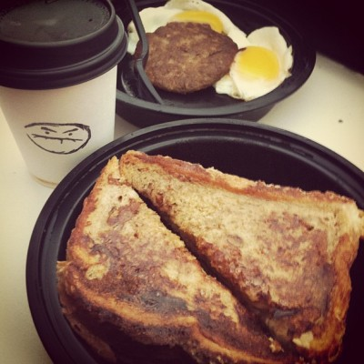 Breakfast delivery from @lordale  you the best!! #breakfast #grub #food #thecornercafe #cafegrumpy #soy #Cappucino #Frenchtoast #eggs #coffee #NYC  (Taken with instagram)