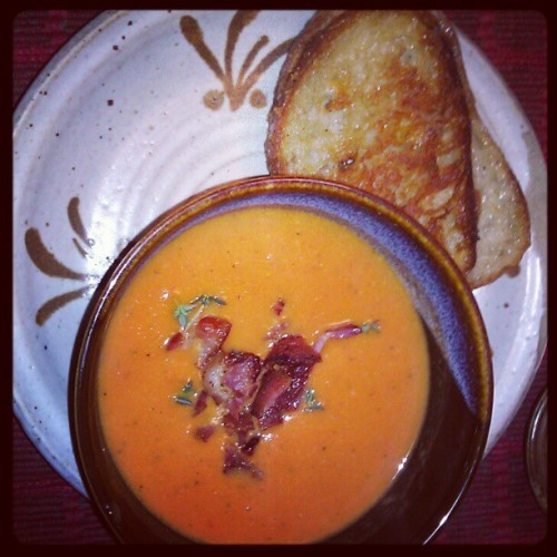 Grilled cheese and smoky tomato bacon soup (Taken with instagram)