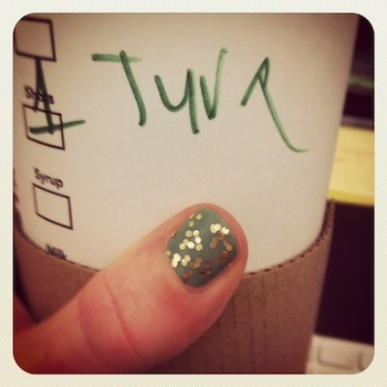Me: Hey look my name is Tyra today (thanks Starbucks!) Julia: I did notice you 'smizing' at me.  If you get that reference, I appreciate you.