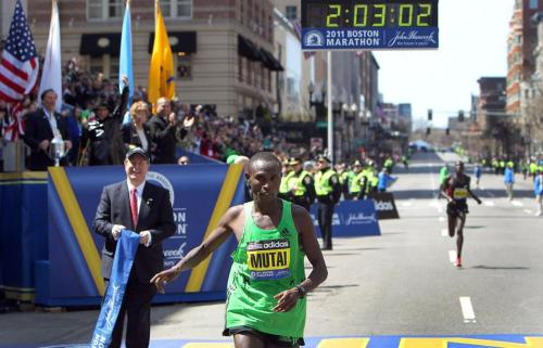 boston:  World record anywhere but Boston Marathon - Geoffrey Mutai ran the fastest time ever recorded for a marathon last year. But officials don't recognize Boston as a world record-eligible course.  I grew up at the top of Heartbreak Hill.  I have such fond memories of watching the Boston Marathon every year.  I miss it.
