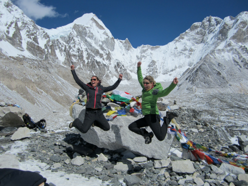 Jumping for joy at Everest Base Camp