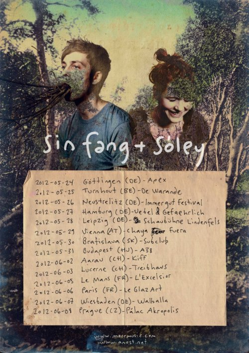 Sin Fang and Sóley European Tour Here's a great combo. The Icelandic artist Sin Fang and Icelandic singer Sóley will be touring Europe together. Click the image for full size to see the dates.